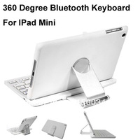 latest  360 Degree Swivel Rotating Bluetooth Keyboard Stand Case for iPad Mini  shipping dy DHL