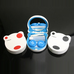 Invisible eye glasses box contact lenses companion box lenses care case double box bear 901(China (Mainland))