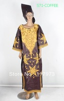 hot african long bazin dress embroidery lady clothes of S71 coffee