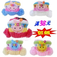 Spring and autumn infant ploughboys thermal ear plush hat knitted yarn sphere cap