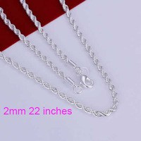 N226-22 wholesale 925 silver necklace, 925 silver fashion jewelry Shine Twisted Line 2mm 22 inches Necklace /bvnakmuate
