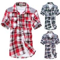 Max homme summer male short-sleeve shirt plaid shirt male short-sleeve shirt male shirt