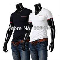 Free shipping men's short-sleeved slim T-shirt, V-neck, Europe's most popular leisure high-quality cotton shirt M-XXL