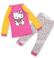2013 new kitty ,free shipping,girls and boys long pajamas,baby clothing,children sleepwear,kids sets,boys  pyjamas