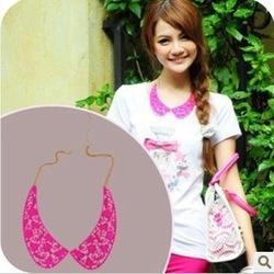 Min.order is $5 (mix order)Free Shipping,Europe&American Vintage Chain 2013,Candy Color Fake Collar Necklace (ON0159)(China (Mainland))