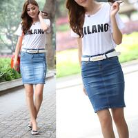 free shipping 6203 2013 vintage slim hip denim skirt step after placketing female medium long skirt bust skirt
