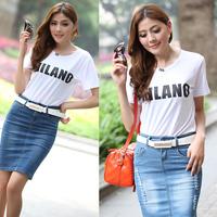 free shipping 6181 2013 women's elegant slim all-match letter pattern o-neck short-sleeve t-shirt