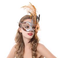 free shipping Masquerade feather mask princess flame flower half face mask princess ball
