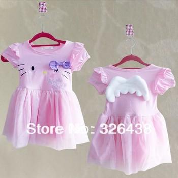 (5pieces/lot) children dress Gilr's Cartoon design Hello kitty angel wings dress summer pink