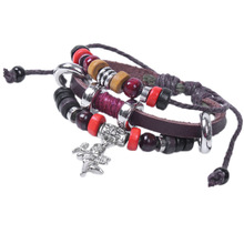 Min. order is $10 (mix order) free shipping 2013 new jewelry european style fashion cupid wedding gift bead leather bracelet men