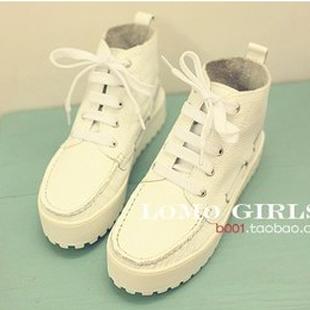 Super soft litchi cowhide platform high boots casual boots
