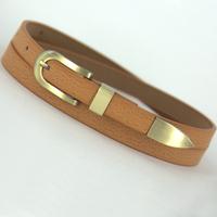 Genuine leather strap pigskin belt thin piece set metal women's belt