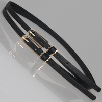 Double long thin belt buckle combination small strap women's belt