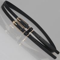 Double long thin belt buckle combination small strap women's belt