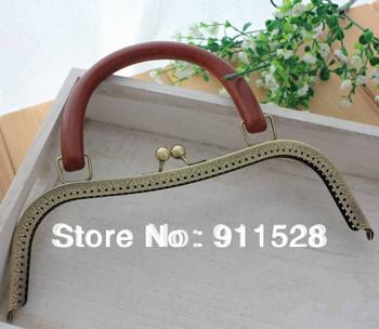 "Free Shipping! 26cm/10.2"" High Quality Antique Brass Wooden Handle Handbag Frame Engraved Bag Frame N1074"