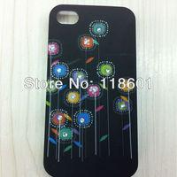 Wholesale 50pcs New Fashion Bling Diamond Flower Black Hard Back Cover Skin Case For iPhone 4 4S 4G