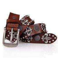 Free shipping western men genuine leather belt ,Leisure rivet leather belts for men,Alloy pin buckle belts