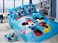 Hot Beautiful 100% Cotton 4pc Doona Duvet QUILT Cover Set bedding set Full / Queen/ King size 4pcs cartoon blue mickey