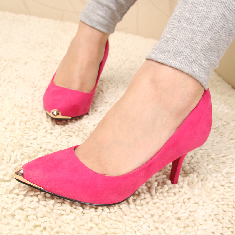 Elegant ladies shoes shoes red sole high heels shoes low help shoes velvet mk shoes(China (Mainland))