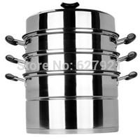 Fashion wohl steamer thickening stainless steel three layer steamer 32cm