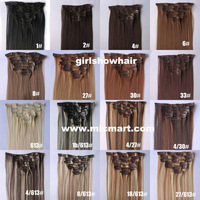 1set clip in synthetic hair extension straight heat resistance fibre 7pcs/set  55cm  90grams