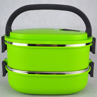 Stainless steel insulation green double layer lunch box seal multi-layer fast food box square lunch box pot scallywag