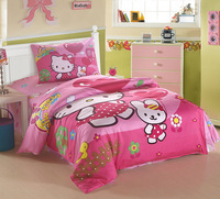 Free shipping 2013 spring Hellokitty 100% cotton child bedding three piece set cartoon bedding