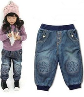 2013 Free shipping/cool style /girl jeans/flower jeans! / Long Trousers Fashion