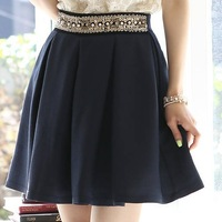 Free Shipping Women's Summer Autumn Skirts 2014 Fashion Elegant OL Pearl Beading High Waist Slim Pleated A-line Bust Skirt Sale