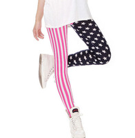 Free shipping NEW ARRIVAL Fashion Women's Pencil Pants panties Female Leggings Full Length Skinny Stripes Stars Capris For Lady