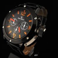 Free shipping Hot sale Classic black leather V6 Super Speed Orange Dials Quartz watches Men Fashion business wristwatch