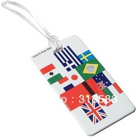 1000pcs customized printing PVC Luggage Tag with Transparent Rope high quality