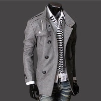 Hot Sale 2013 Hot Men's Jackets Double Platoon To Buckle LiLing Badges Dust Coat MF-018