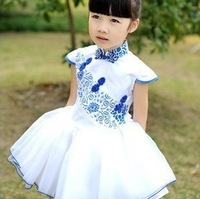 2013 children summer  blue and white porcelain dress Performing dress