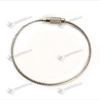 10PCS Stainless Steel 20cm Wire Keychain Cable Key Ring for Outdoor   Free shipping