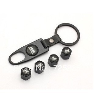 Black Car Tyre Tire Valve Stem Cap MUGEN Logo Emblem Air Dust Covers+Tool Wrench Keychain Free shipping