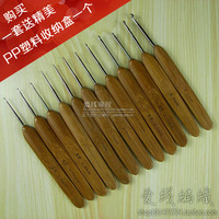 Bamboo handle stainless steel hook needle with bamboo handle metal hook needle hook needle tools set bamboo hook needle