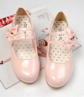 5 lolita princess bow double hasp wedges round toe single shoes plus size