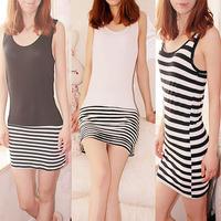 Summer black and white stripe tank dress long design basic skirt spaghetti strap one-piece dress skirt
