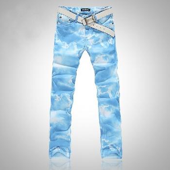 Цветed drawing Джинса male sky Синий print elastic Джинса pant for men pure and fresh ...