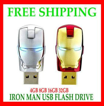 Free Shipping 2013 Wholesale Popular Iron Man Models Full Capacity 4GB 8GB 16GB 32GB 64GB USB Flash Pen Drive Gift  warranty