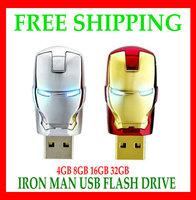 Free Shipping Wholesale Popular Iron Man Models Full Capacity 4GB 8GB 16GB 32GB 64GB USB Flash Pen Drive Gift  warranty