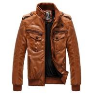 Men's Locomotive Leather  Jacket Coat Thickening Fur Outerwear Slim Winter PU Jacket Brown , M-XXXL