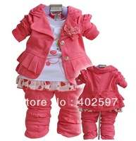 {Promotion!} 4sets/lot Toddler's Autumn 3PCS Set Outerwear+T-shirt+Pants, Hot pink Girls' Clothing Kids Clothes baby suits