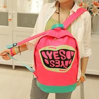 Preppy style color block candy color sports  neon color student school bag  bag