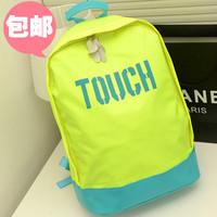B neon color vintage  student school bag  preppy style color block women's handbag