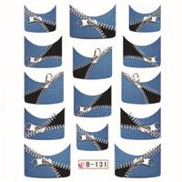 Wholesale 32 Designs Nail Wraps French Tip Nail Decals Zipper Animal Print B Series 100 pcs/Lot Free Shipping