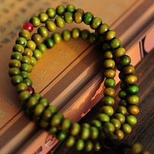 Wholesale - China Wind Shambhala Men / Women Buddha Bracelet Green Wood Bead Lucky Religion 108 Gift Jewelery