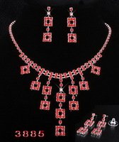 Hot Sale Free Shipping Fashion Rhinestone Jewelry Set Exquisite Red Bride Necklace Earring Set Factory Price.