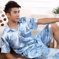 2013 Students in Young men'S Summer Pajamas Thin Handsome Boys With ice Silk Short sleeve Suit Household To Take The Real Thing